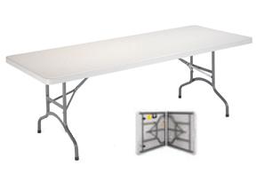 mesa plegable tipo maleta blanca