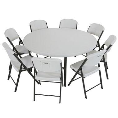 mesa redonda plegable con sillas