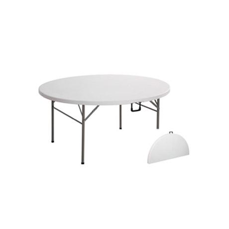 mesa redonda plegable tipo maleta